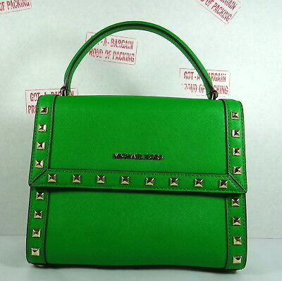 Michael Kors Dillon Medium Top Handle Leather Messenger Crossbody in Palm Green