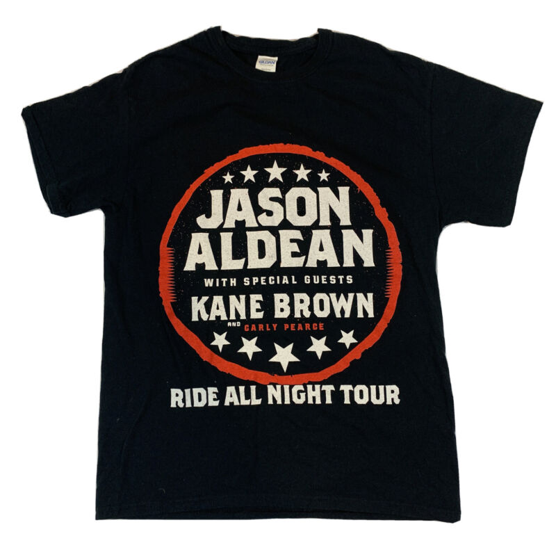 Womens Medium Jason Aldean Ride All Night Tour Tee Shirt