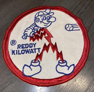 "Vintage Reddy Kilowatt Sew-On Patch 5.5"" Circle Electricity Mascot VTG"