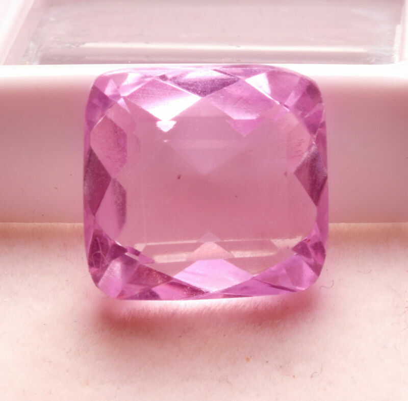 14.45 Cts Natural Kunzite Rose Pink Color Square Cut Certified Gemstone