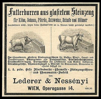 Alte Reklame 1887 Futterbarren aus glasiertem Steinzeug Lederer & Nessényi