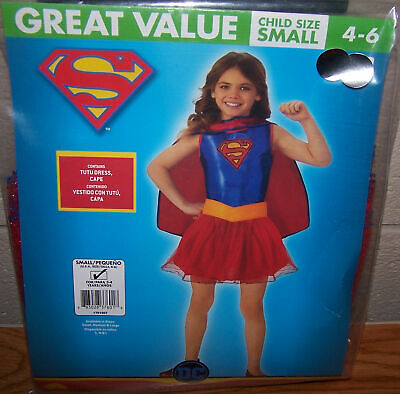Supergirl Costume Size 6 ( Size S 4/6 DC Supergirl Child Costume Tutu Dress)