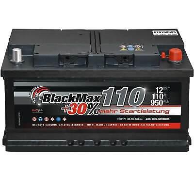 Autobatterie 12V 110Ah 950A BlackMax Starterbatterie ers 90Ah 95Ah 100Ah 105Ah Duracell Starter