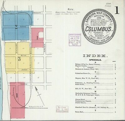 Columbis, Kentucky~Sanborn Map© sheets ~ 15 maps in full color~1886 to 1927