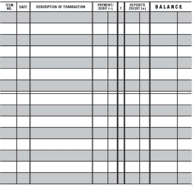 10 Easy To Read Checkbook Transaction Register Large Print Check