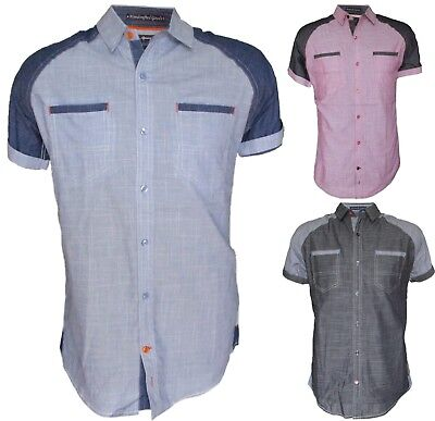 Mens Short Sleeve Casual Shirt, Full Button Front, Regular Fit, Three Colors  Casual Button Front Shirt