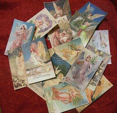 Set of 16 LARGE Victorian//Vintage Santa labels postcard images---Set # 2