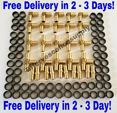 130 Pcs 34 Brass Pex Crimp Fittings With Copper Crimp Rings Leadfree Brass