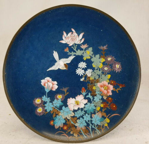 Antique Art Deco Style Japanese Cloisonne Enamel Charger Plate Bird Flowers