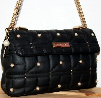 River Island Black Quilted Pearl Shoulder Bag/Tote/Purse + Charm