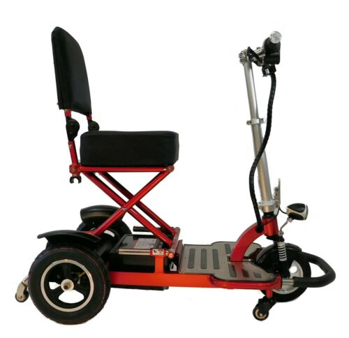Red Triaxe Tour Folding Mobility Scooter, 375 Cap, 6mph, Airline Friendly, Lite