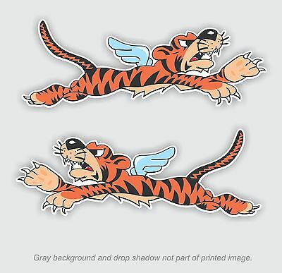 Pair - Flying Winged Tiger sticker , WWII Military Airplane nose art