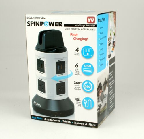*SpinPower by Bell+Howell Fast Charging Station 4 Outlets 6 USB Ports