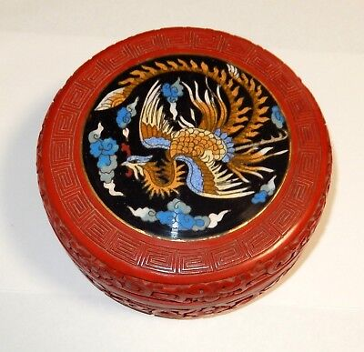 LARGE CHINESE PHOENIX BIRD CARVED CINNABAR LACQUER CLOISONNE ENAMEL BOWL JAR BOX