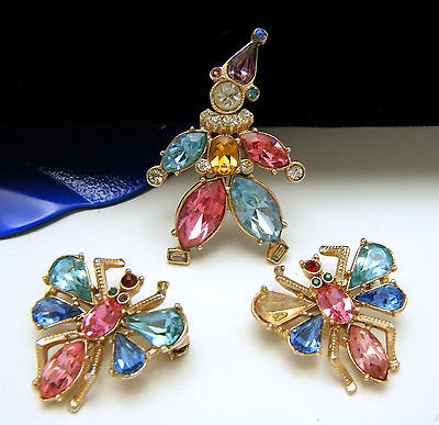Vintage Repair Lot 3 Colored Rhinestone Pins Winged Insects Clown on Lookza