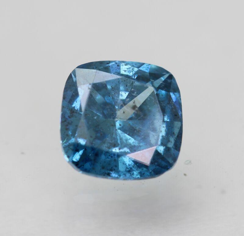 Cert 0.51 Carat Fancy Vivid Blue SI1 Cushion Enhanced Natural Diamond 4.98x4.96m