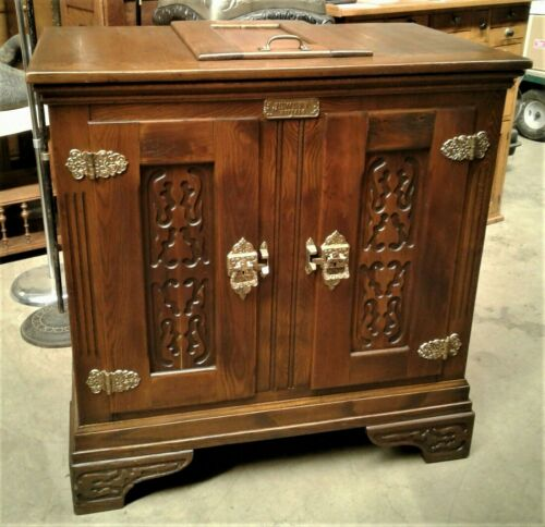 Antique Jewett Wooden Ice Box with Lift Out Ice Container Victorian