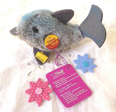 Steiff Delphin Delfin Fisch Clippy Knopf Schild Fahne Anhänger 1472/07 14cm