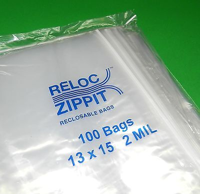 Large Ziplock 13 X 15 Clear Reclosable Jumbo Size Bags 2 Mil 100pc Poly Bags