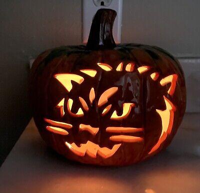 Halloween Ceramic Glazed Pumpkin Carved Cat Face Candle Tealight Holder