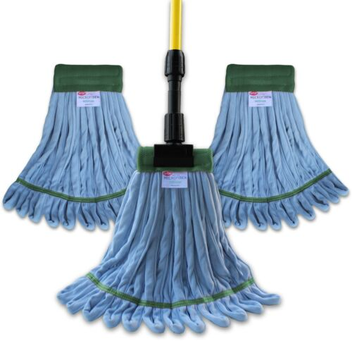 Ultimate Microfiber Wet Mop Kit - (3) Blue Microfiber Wet Mops & (1) Handle