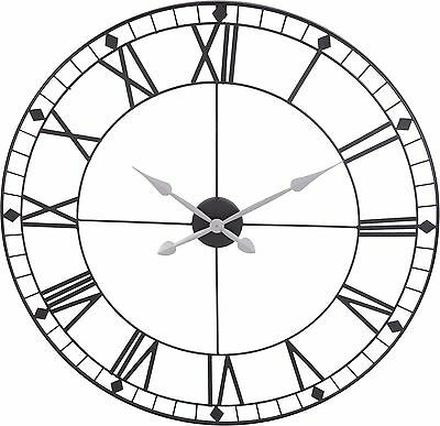 Stunning Extra Large 88cm Black Metal Wall Clock Black Skeleton Wall Clock