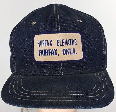 1950s Mens Hats | 50s Vintage Men's Hats Vintage 1950s Fairfax Elevator Oklahoma Cap Denim Snap Farm Hat Crowell Texas C $129.99 AT vintagedancer.com