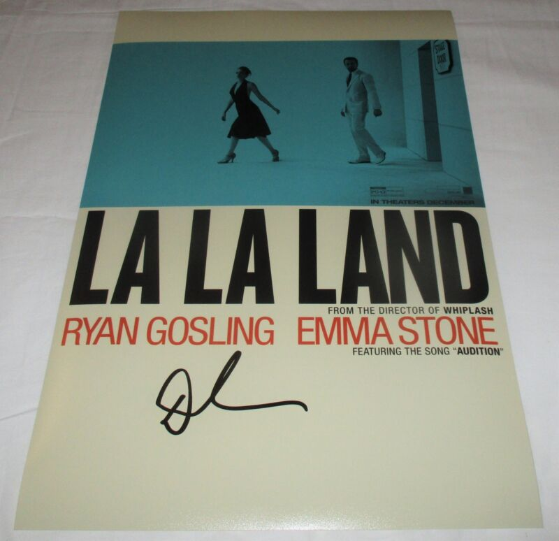 DAMIEN CHAZELLE SIGNED LA LA LAND 12X18 MOVIE POSTER 4