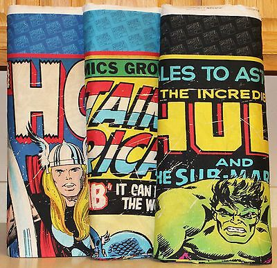 Marvel Comics Captain America Hulk & Thor Quilt Panels bty SOLD