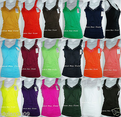 Ladies Wrinkled Camisole Lace Strap Tank Top Cami One Size Fits S M L Xl  Twc306