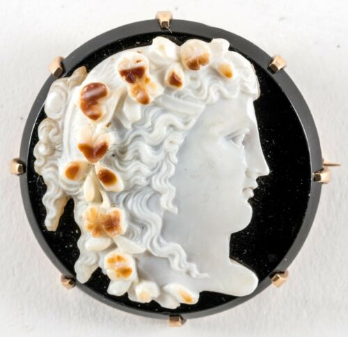 ANTIQUE 14K ONYX CAMEO BROOCH C1900