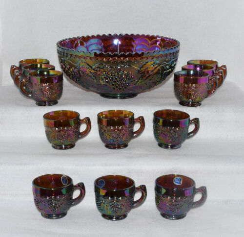 Imperial Glass Grape Amber Punch Bowl & Twelve Cups