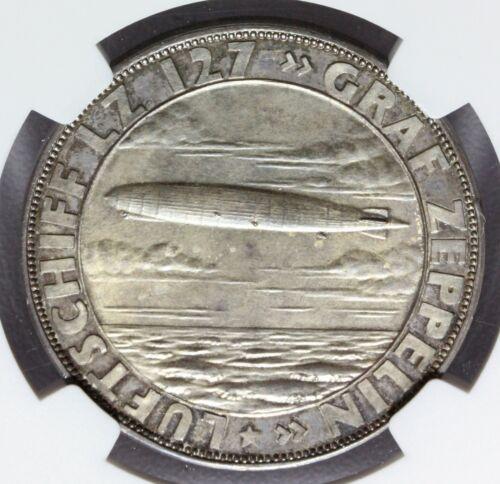 1928 Germany Silver Eckener Graf Zeppelin LZ 127 Medal - NGC MS 63 - Kaiser-493