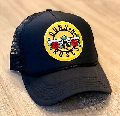 GUNS N ROSES Trucker Hat Embroidered Patch Cap Music Rock Band Mesh Black Retro Rose Trucker Hat