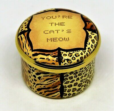 "HALCYON DAYS ENAMEL BOX- ""YOU'RE THE CAT'S MEOW"" -NEIMAN MARCUS- VALENTINE'S DAY"