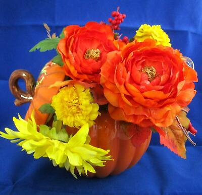 FTD Ceramic Pumpkin Covered Bowl Tureen Cookie Jar with Lid & Artificial Flowers