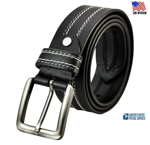 Extra Large Size 100% Top Grain Leather Mens Casual Dress Jeans Belt Buckle Usa