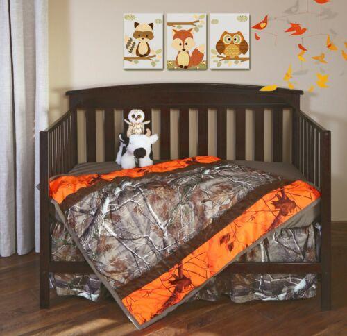 Realtree Camo & Orange Camo Baby Toddler Crib Set, Bedding Sheet Skirt Blanket