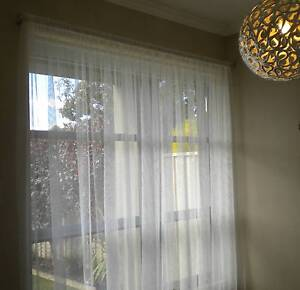 NEW SHEER CURTAINS + COMPLETE SILVER ROD SET Kidman Park Charles Sturt Area Preview