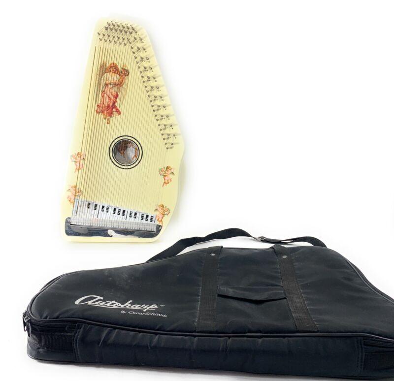 Mint Antique Oscar Schmidt Autoharp W/ Angel Accent Stickers-Case-Music Therapy