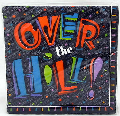 Over the Hill Black Beverage Napkins 16 ct 10 inch 2 Ply Birthday Party (Hill Beverage)
