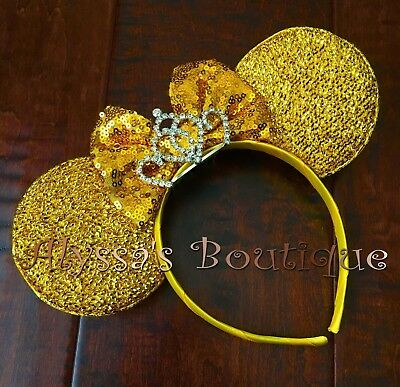 Minnie Mouse Headband New Sparkly Yellow Ears Big Gold Sequin Bow Tiara Crown Gold Sequin Tiara