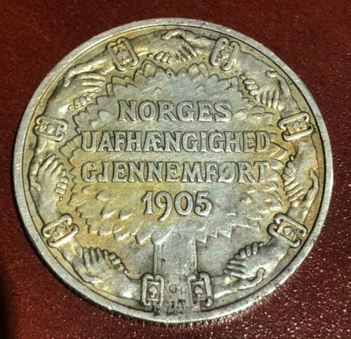 1906 NORWAY 2 KRONER  Norway Silver Coin VERY RARE XF
