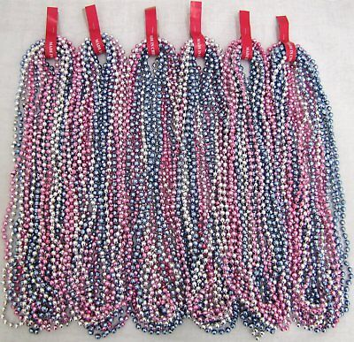 Mardi Gras Beads BABY PINK/BLUE/SILVER Mix 6dz Gender Reveal Shower 72 NECKLACES - Pink And Blue Mardi Gras Beads