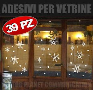 Stickers natale 39 adesivi vetrine vetrofanie fiocchi neve - Adesivi finestre natale ...