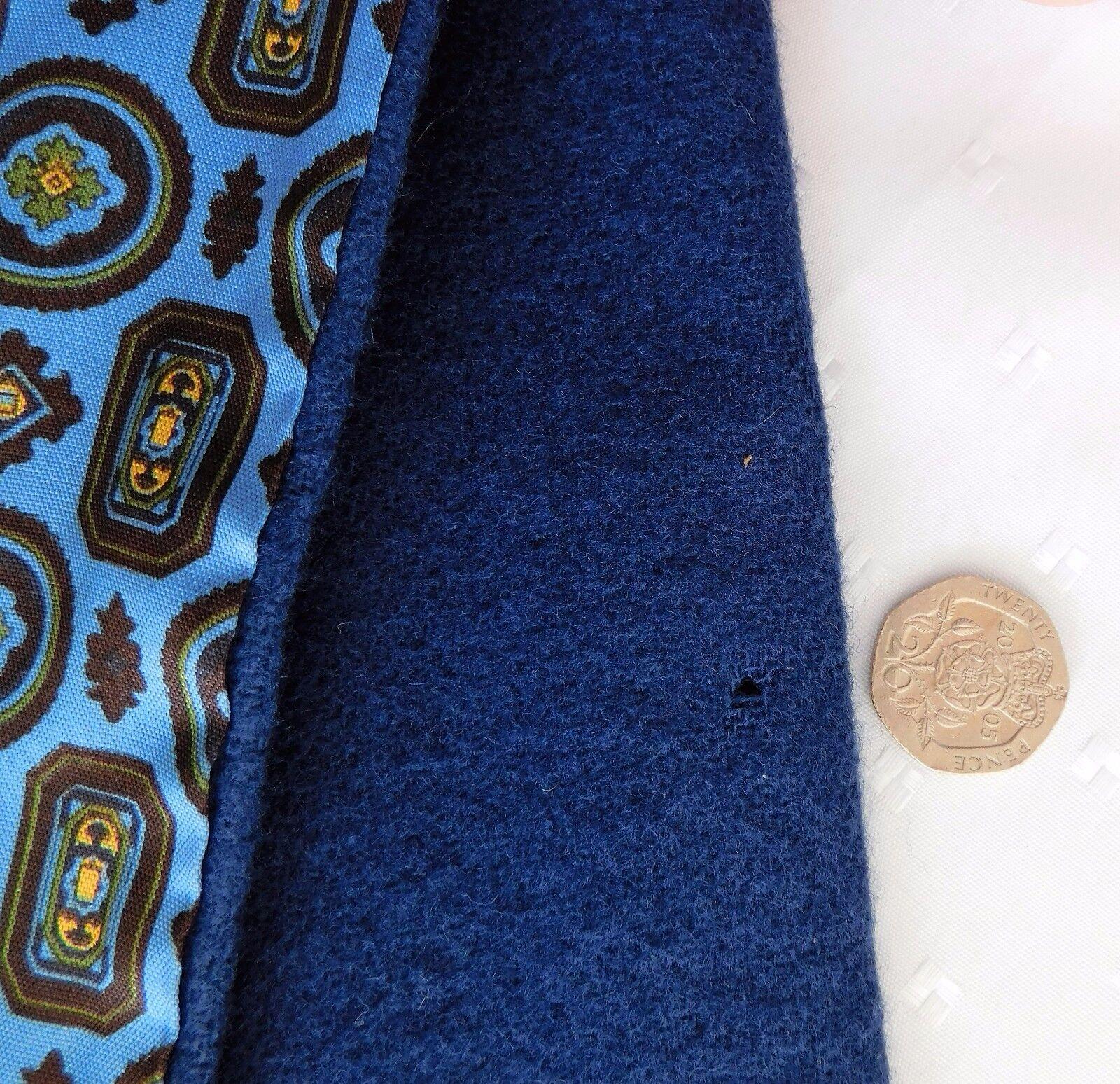 Debenhams vintage British scarf blue patterned acetate and lambswool