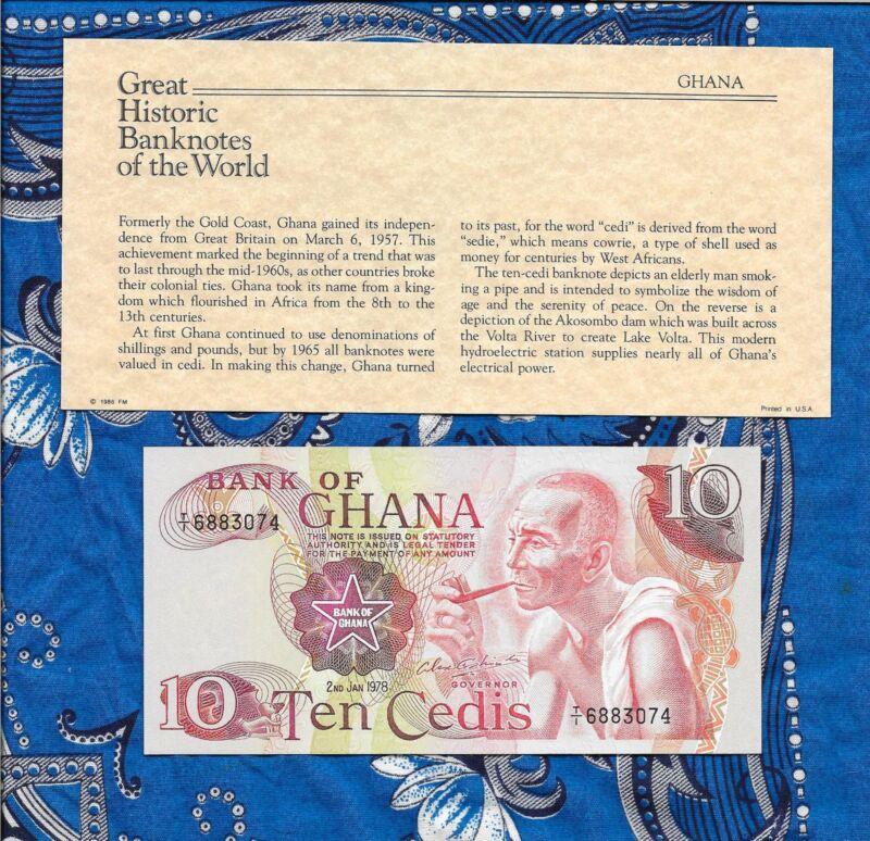 Great Historic Banknotes Ghana 1978 10 Cedis P16f UNC Prefix T/1