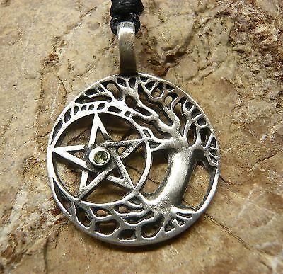 ANHÄNGER mit Band Lebensbaum mit Pentagramm Schmuck ZINN Amulett AZ65