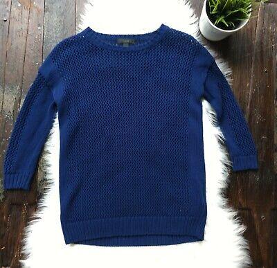 J. CREW Open Knit 3/4 Sleeve Drapey Beach Sweater Women's XXS Blue EUC