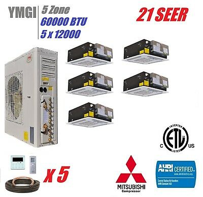 YMGI 60000 BTU 5 QUINT ZONE DUCTLESS SPLIT AIR CONDITIONER HEAT PUMP 21 SEER BBM